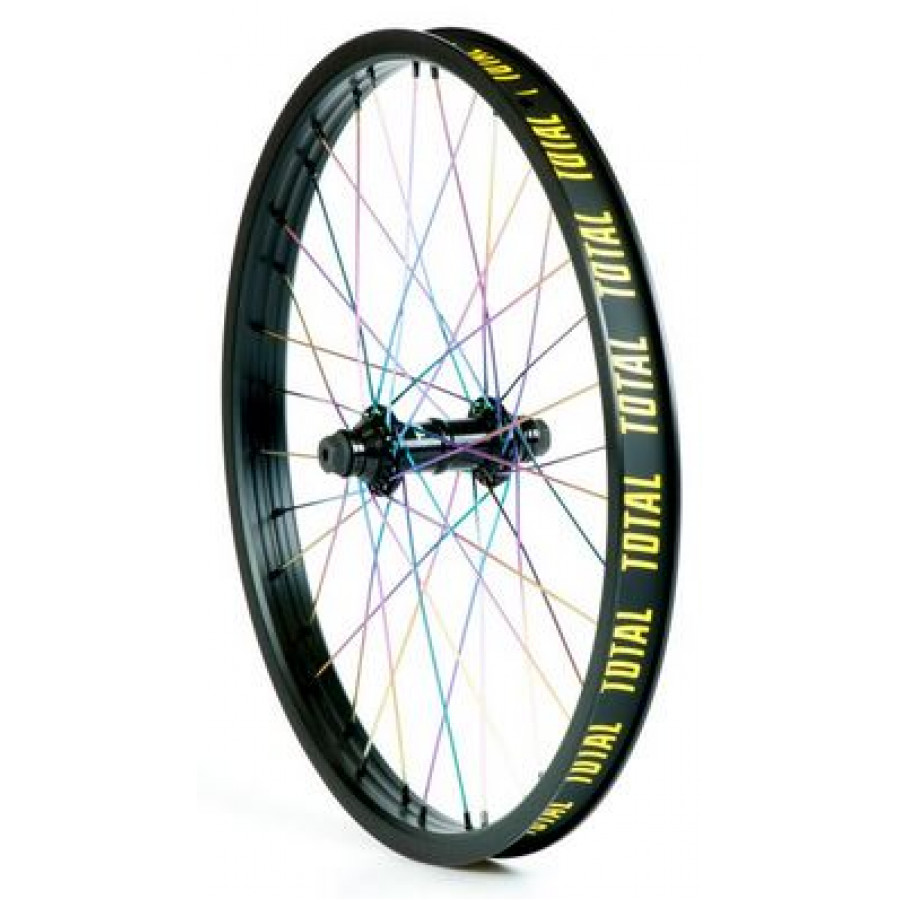 Total Techfire Front Wheel - Black w/ Rainbow
